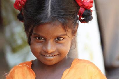 Girl smiling to camera
