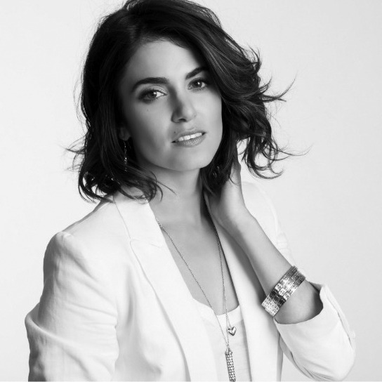 Black and white portrait of Nikki Reed