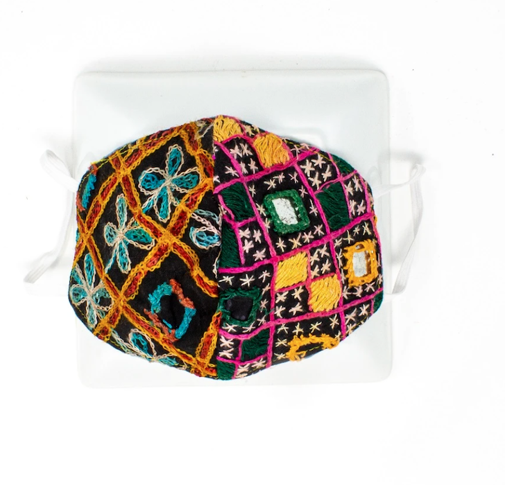 hand sewn multicolor patchwork face mask