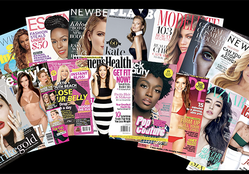 composition of beauty magazine covers
