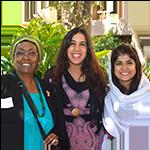 Edna Adan, Lila Igram and Khalida Brodhi posing and smiling